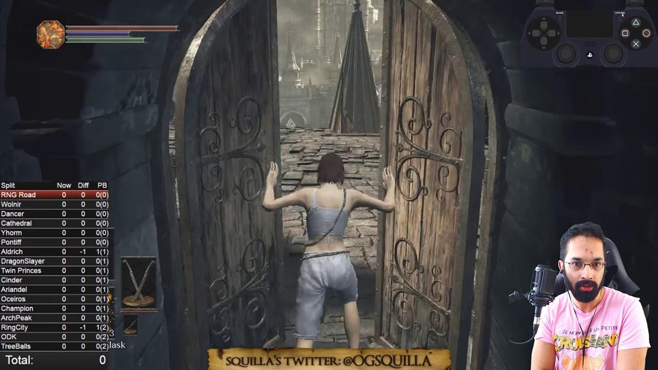 Streamer SquillaKilla opening a door in Dark Souls.