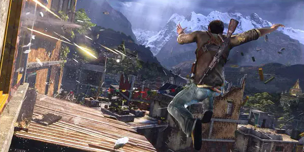 Nathan Drake jumps towards a hail of bullets in the Uncharted series.