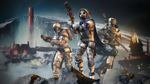 A destiny fire team stands on a lunar cliff with the Red Keep behind them in the distance.