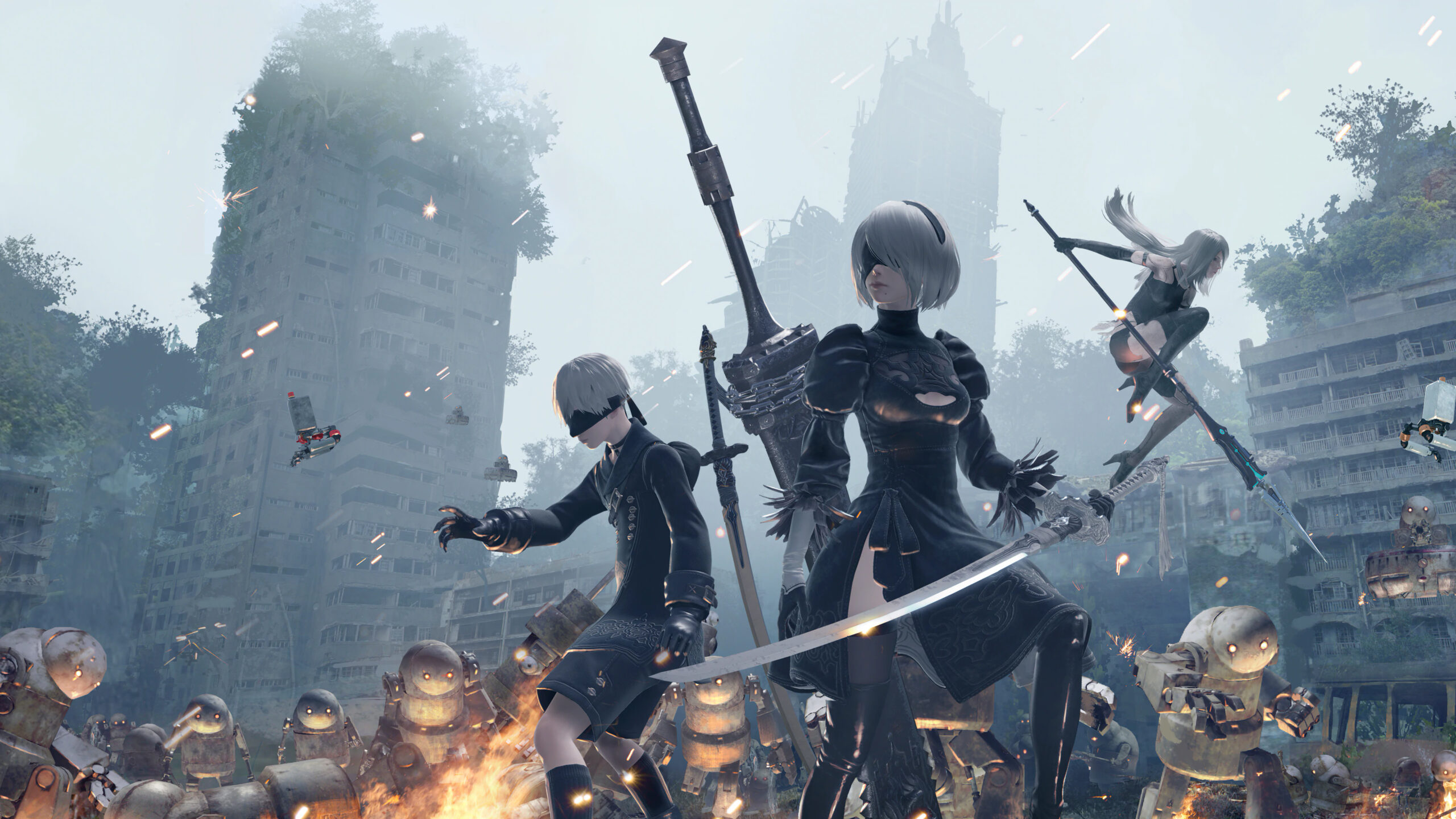 2B, A2, and 9S stand ready for battle from Nier Automata.