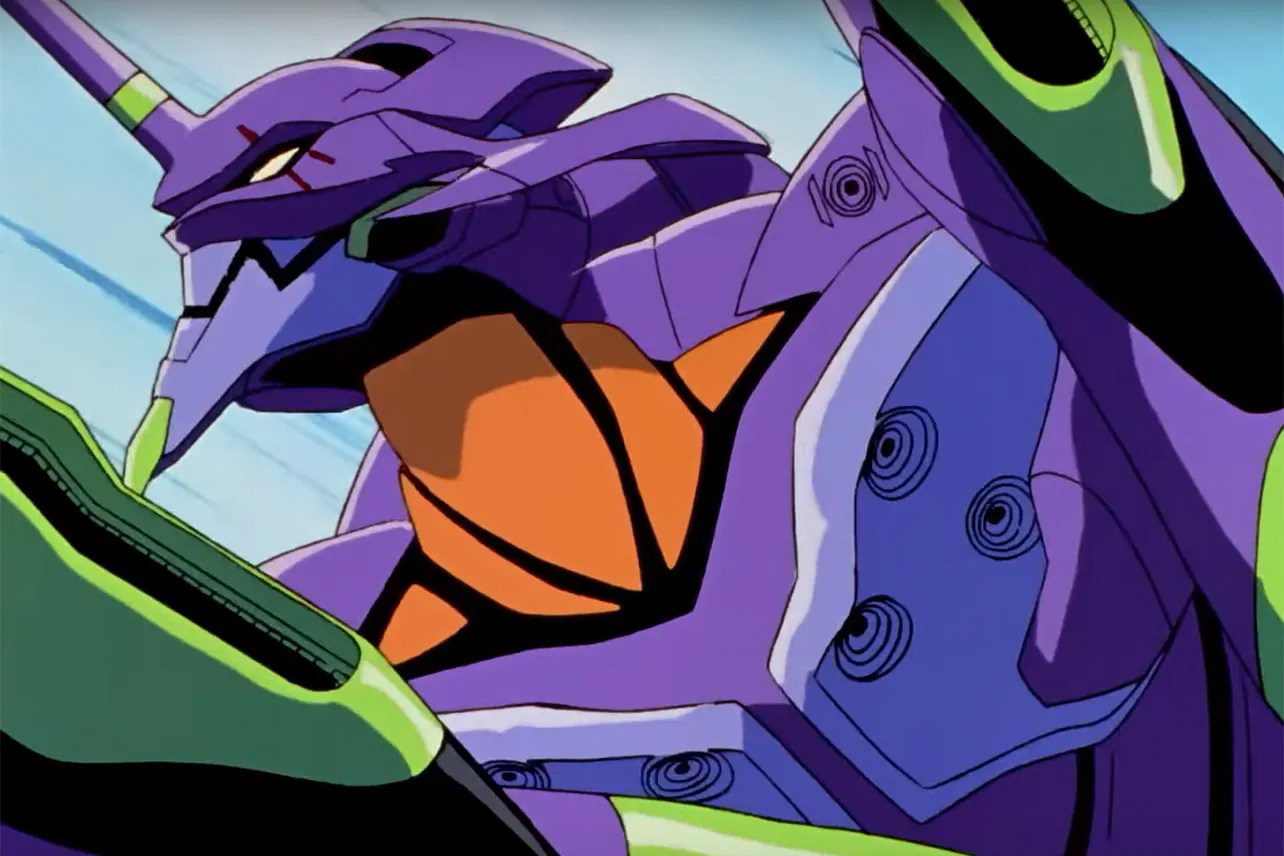 The purple and green Unity 01 from Neon Genesis Evangelion mech