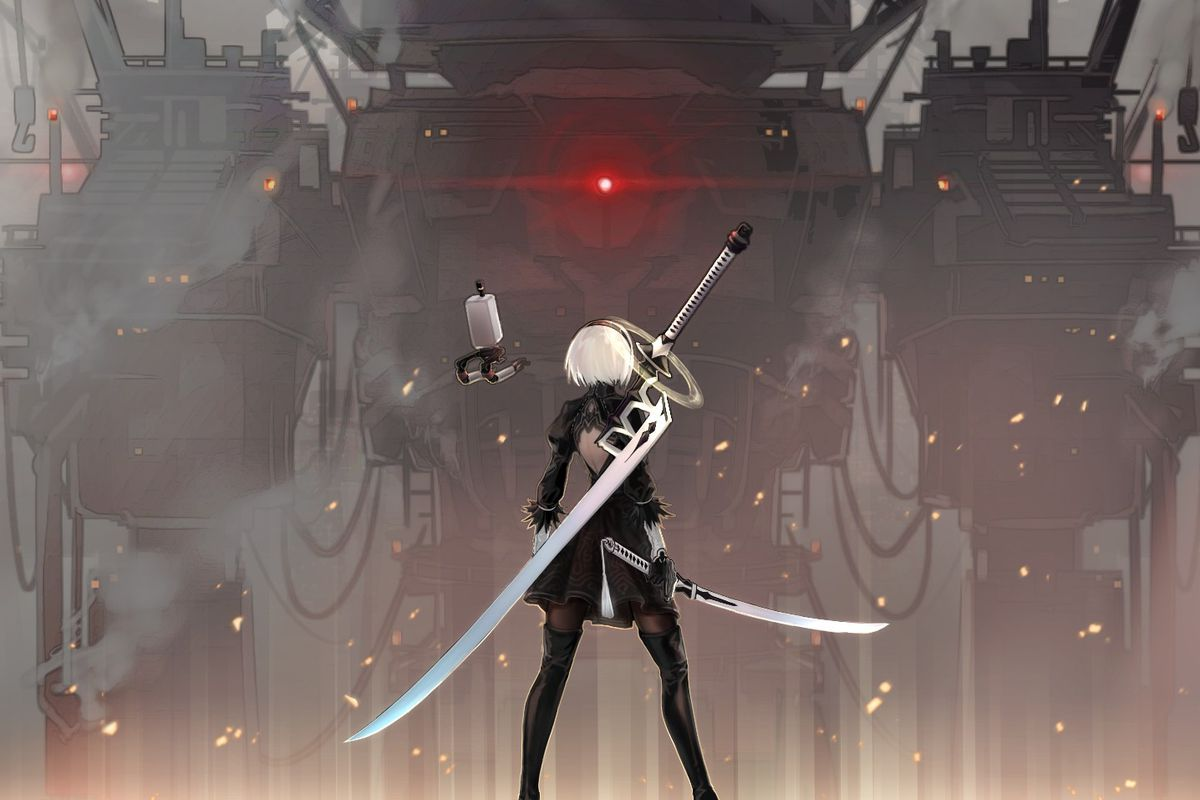 2B stands before a massive machine and prepares herself to fight it.