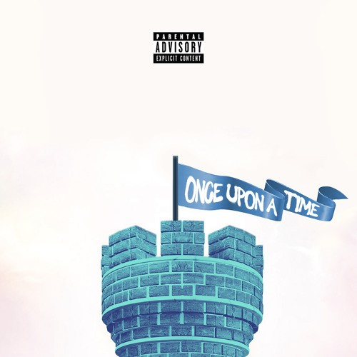 """A blue castle tower with a banner reading """"once upon a time."""""""