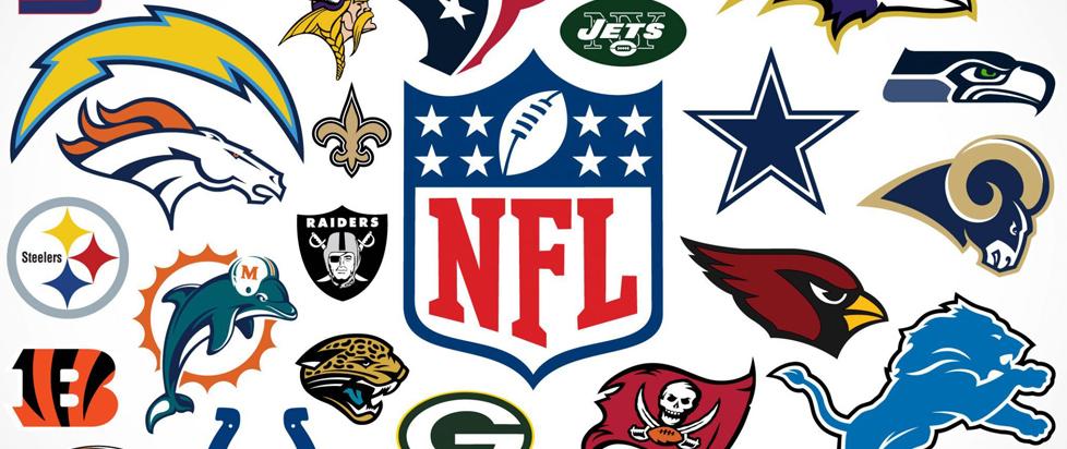 An array of NFL team logos.