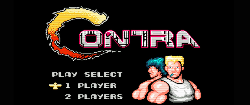 The start screen from Contra where two men stand back to back and look out menacingly.