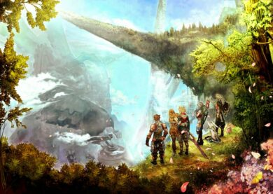 An artistic rendering of the party standing at a cliff's edge and looking outwards.