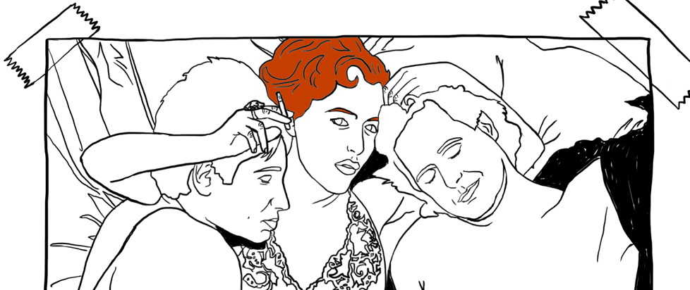 An illustrated Gillian Anderson in bed with David Duchovny and Chris Carter based on the iconic photo.