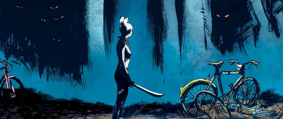 A shadowy figure stands near a mangled bicycle at the edge of the woods while holding a machete.