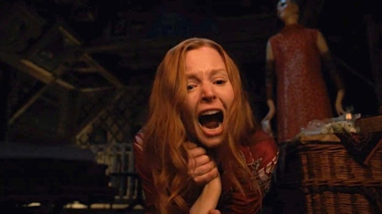 Dorothy Turner from Servant screaming as she fights in an attic.
