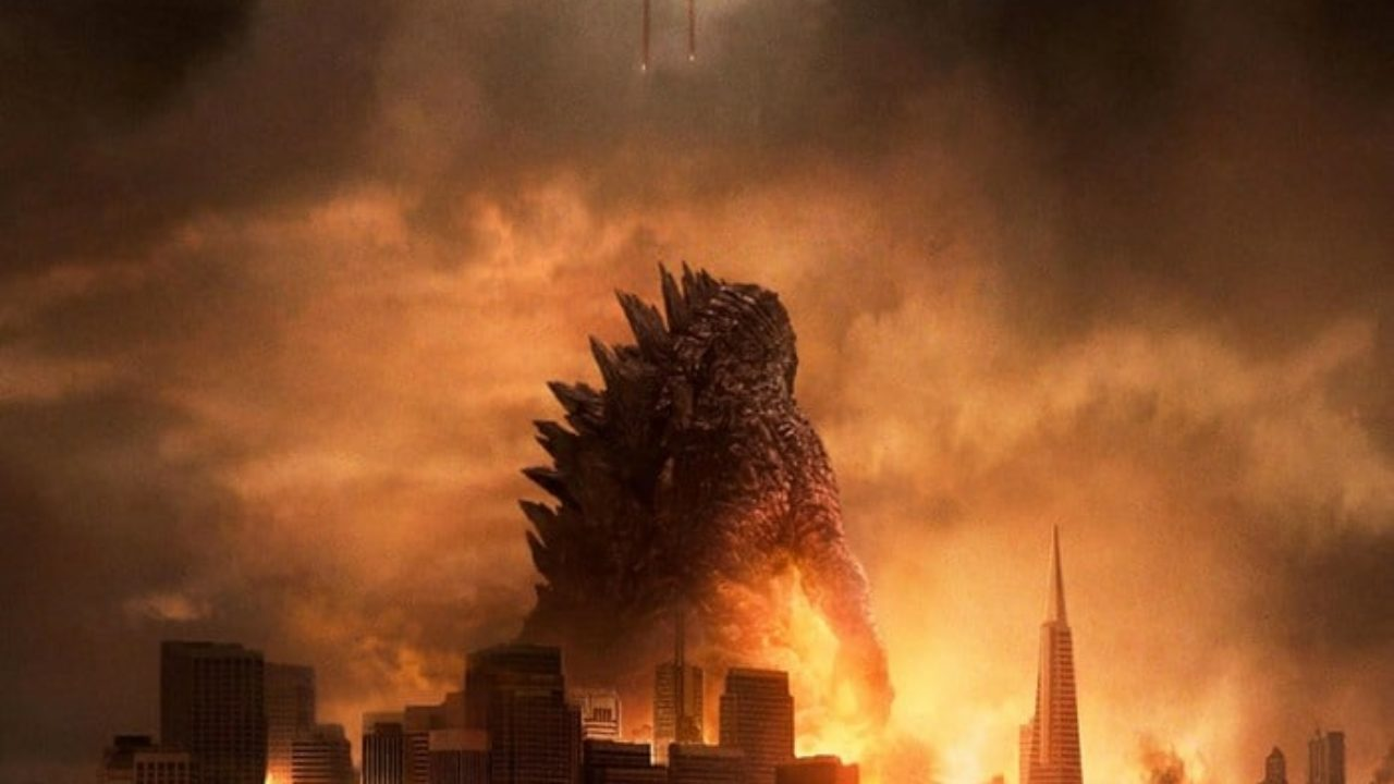 Godzilla, bathed in smoke among the ruins of San Francisco