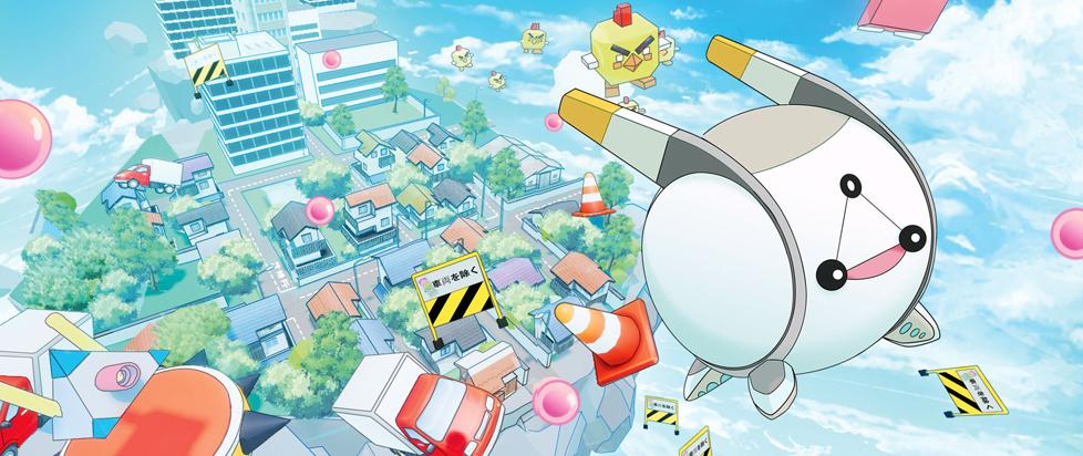 A cute orb like robot flies into the sky.