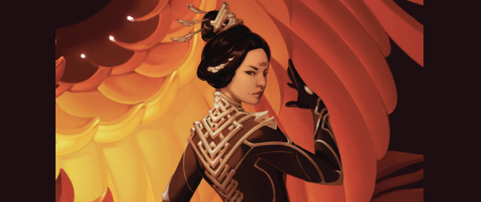 A detail shot from Xiran Jay Zhao's book Iron Widow showing a black armor clad woman with her hair in an elaborate updo posing in front of images of flames