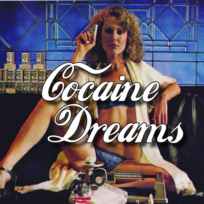 """A woman holding a small gun and wearing lingerie beneath a robe with the text """"Cocaine Dreams."""""""