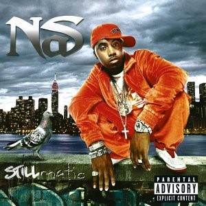 The album cover for Stillmatic by Nas which reatures him crouching atop a wall with a pidgeon.