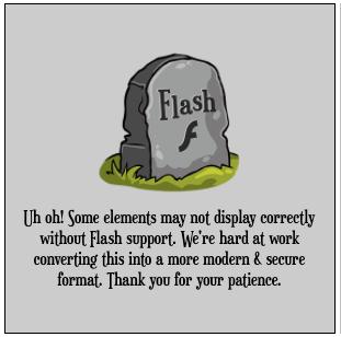 A gravestone dedicated to Flash animation.