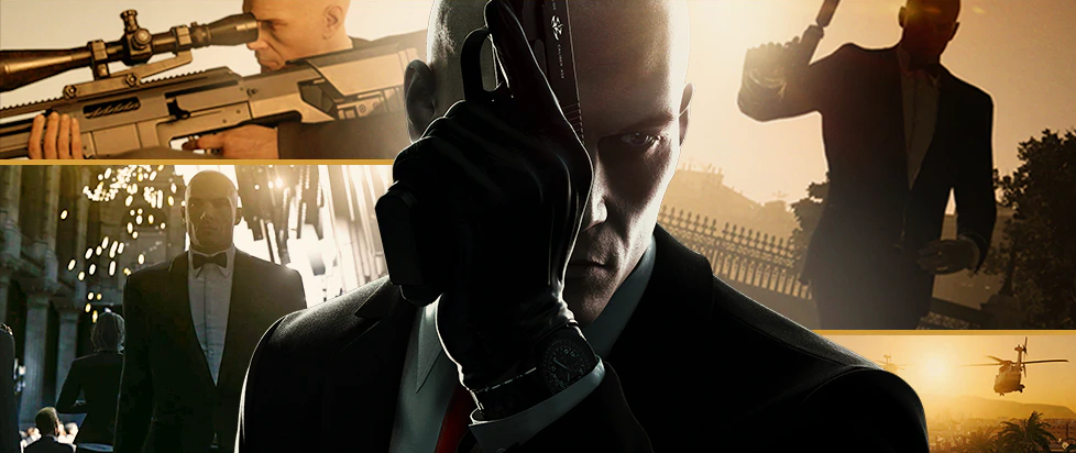 centered, the bald head of Agent 47 holding a handgun in a gloved fist, surrounded by images of himself doing other rad action-movie like things.