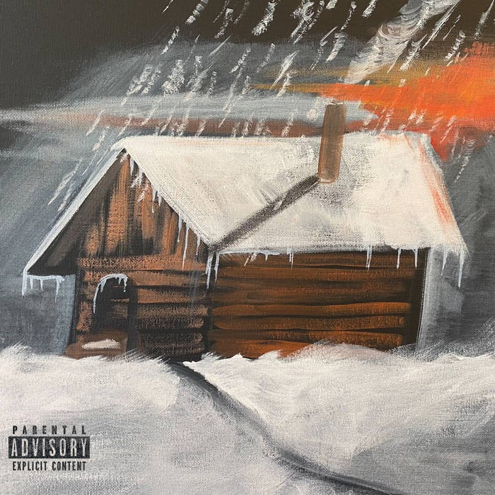 A painting of a cabin in a snowy setting for the album cover to Fat Ray's Santa Barbara