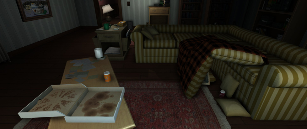 A living room with an empty pizza box and a couch with cushions strewn about.