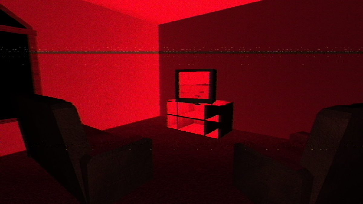 A living room bathed in red light.