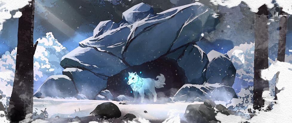 A wolf with blue glowing marks stands at the mouth of a cave.