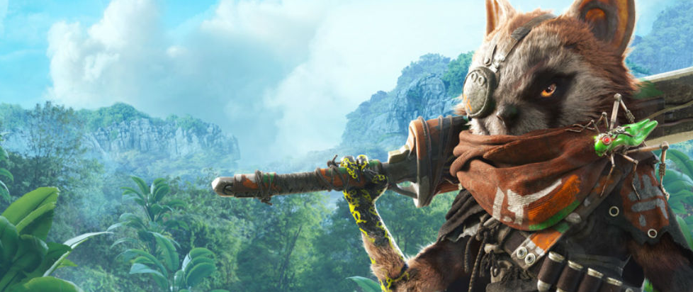 A creature that looks a bit like a mutated red panda/raccoon holding an over large sword over its shoulder and looking out over a rainforest.
