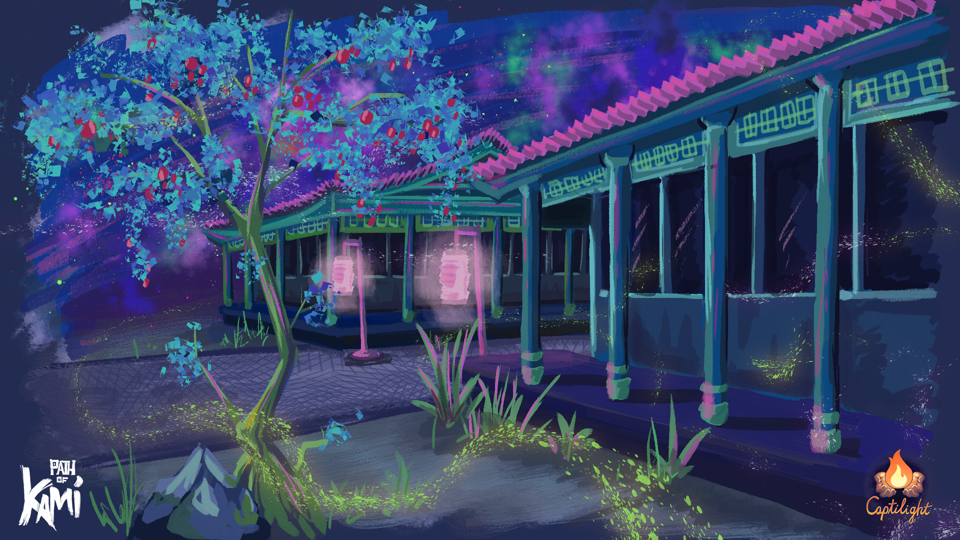 A night scene among a temple with glowing lanterns.