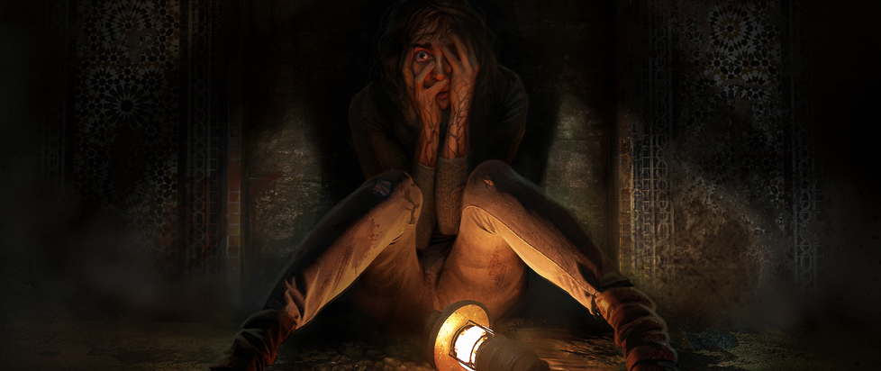 Tasi sits against, a wall, illuminated by only a lantern. A massive shadow is cast behind her.