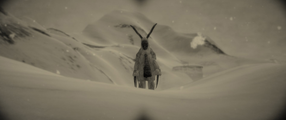 A horned being with claws standing in the distance.