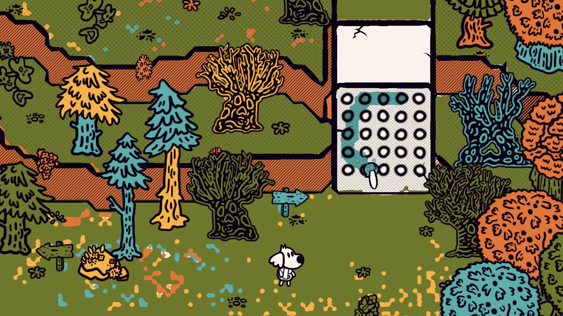An almost entirely colored in world where a little dog solves a puzzle by painting.