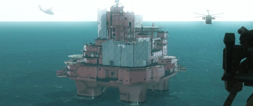Mother Base, an oil rig turned into a military base.