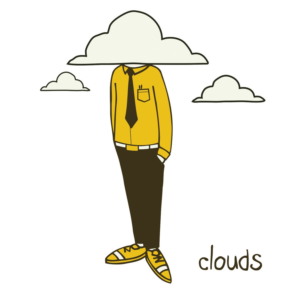 A figure with a yellow shirt and shoes and brown pants and tie with their head literally in the clouds forming the cover of Clouds by Apollo Brown.