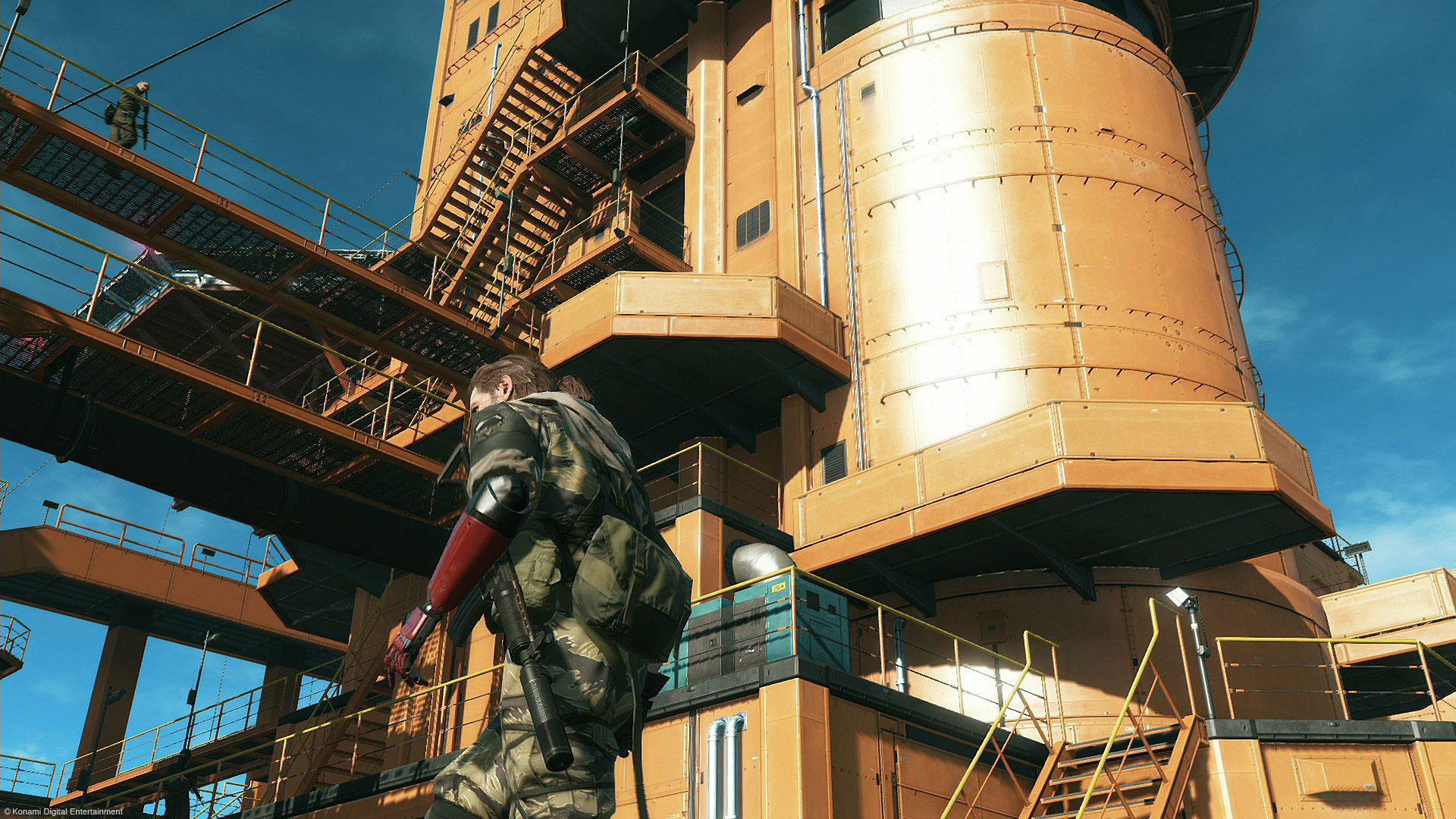 Punished Snake standing on the orange oil rig base.