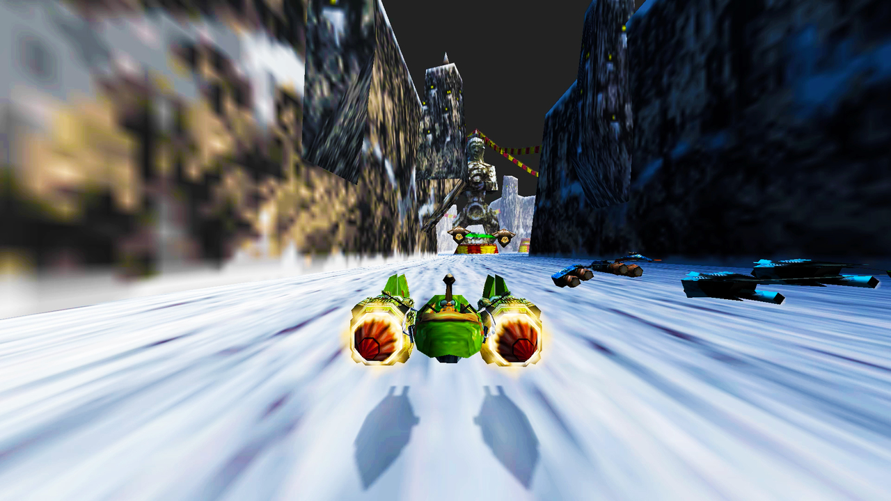 A green pod racer racing in a wintery canyon.