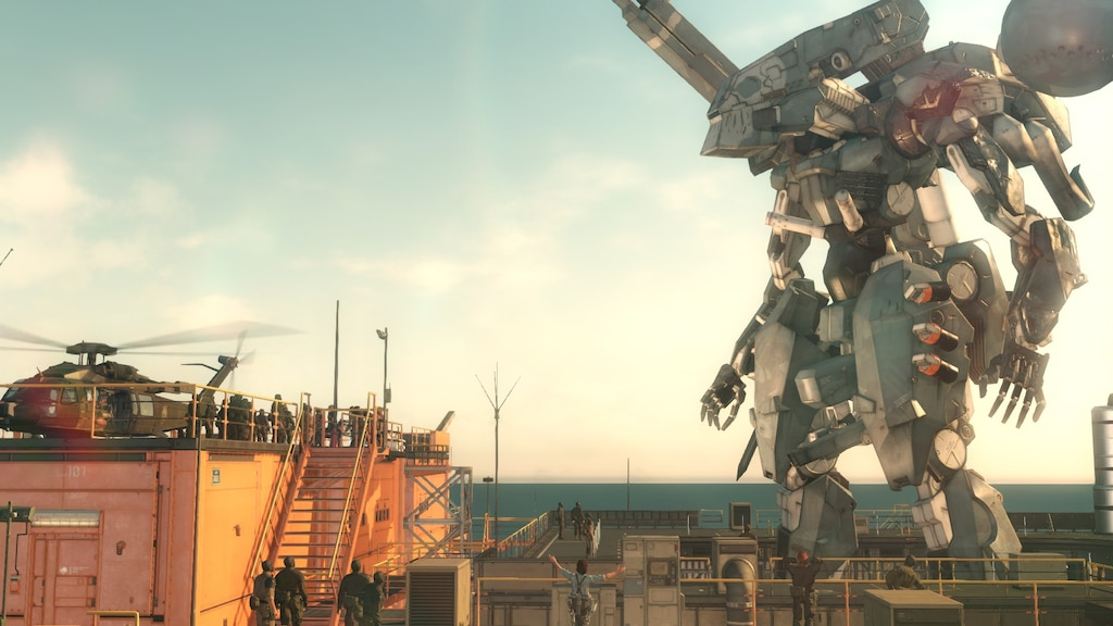 A new, more humanlike metal gear stands in the distance.