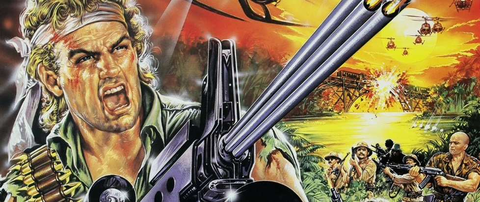 in a painted box art fashion, a man (a commando even) holds a large gun and shouts into a Vietnam-ish jungle.