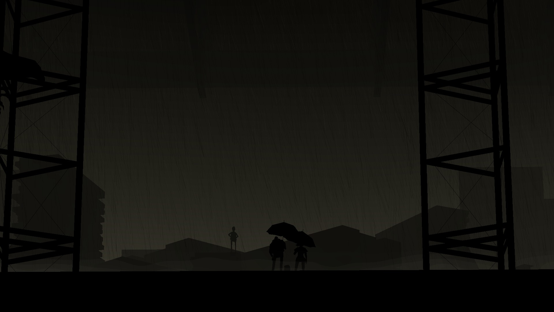 Conway and Shannon from Kentucky Route Zero witness a kid standing on top of a house's ruins under the rain.