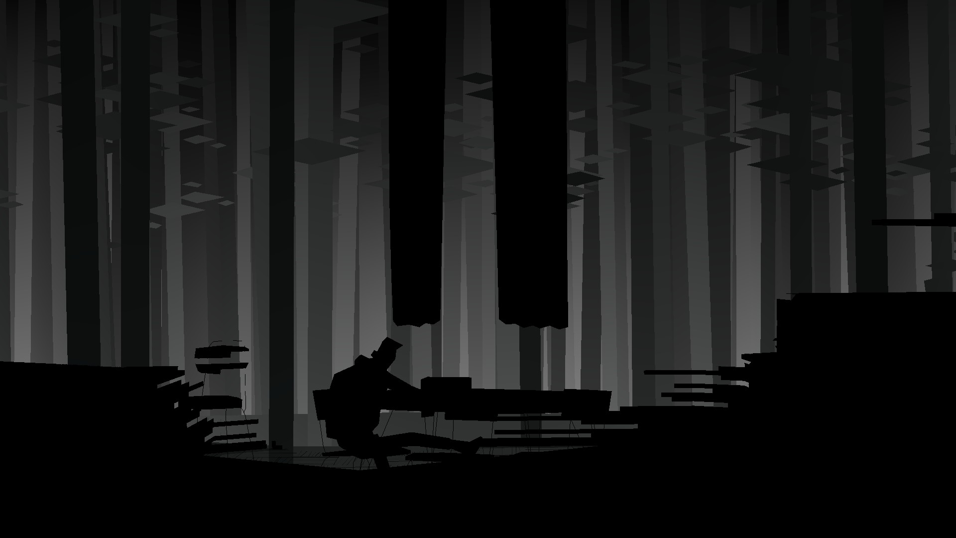 Conway from Kentucky Route Zero sits alone in a black and white empty room that resembles a forest.