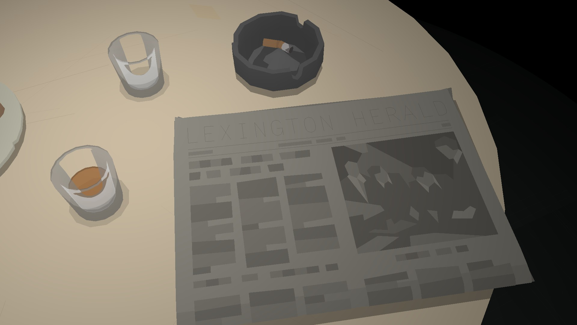 The fictional newspaper Lexington herald lies on a table near two cups of coffee and an ashtray.