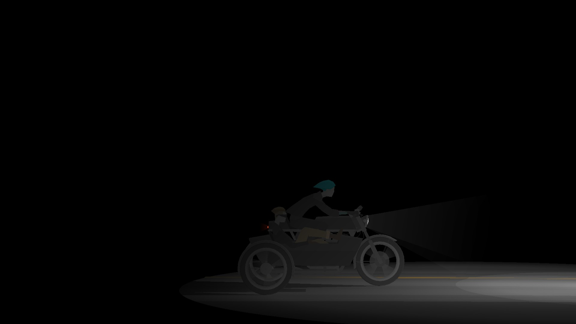 Junebug and Johnny from Kentucky Route Zero ride on a motorcycle in the night.