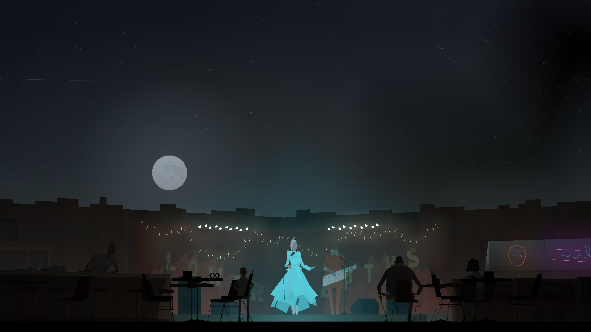 Junebug from Kentucky Route Zero sings on a roofless stage wearing a light blue dress in front of three people.