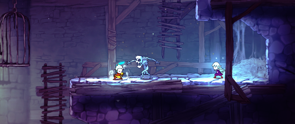 two characters fighting a skeleton monster on a lit ledge.