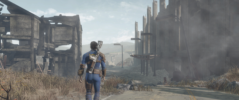 The Vault Dweller from Fallout 3 walks among the ruins of Washington DC.