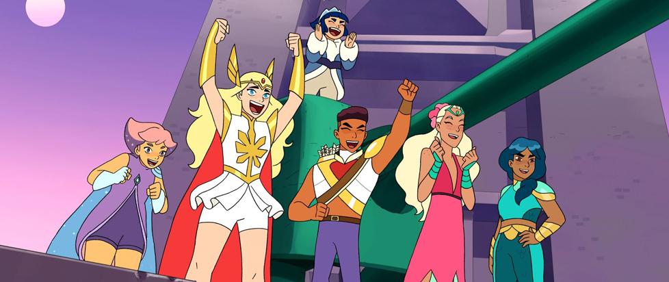 She-Ra and company celebrating and cheering.