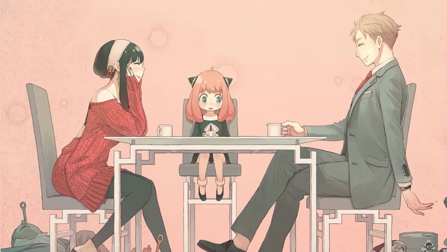 An image from Spy x Family where a family sits at a dining table.