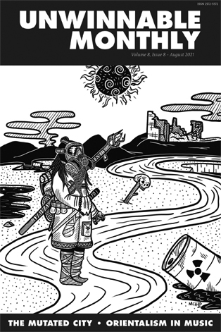 The cover of Unwinnable Monthly Issue 142, where a figure stands in a radioactive wasteland.
