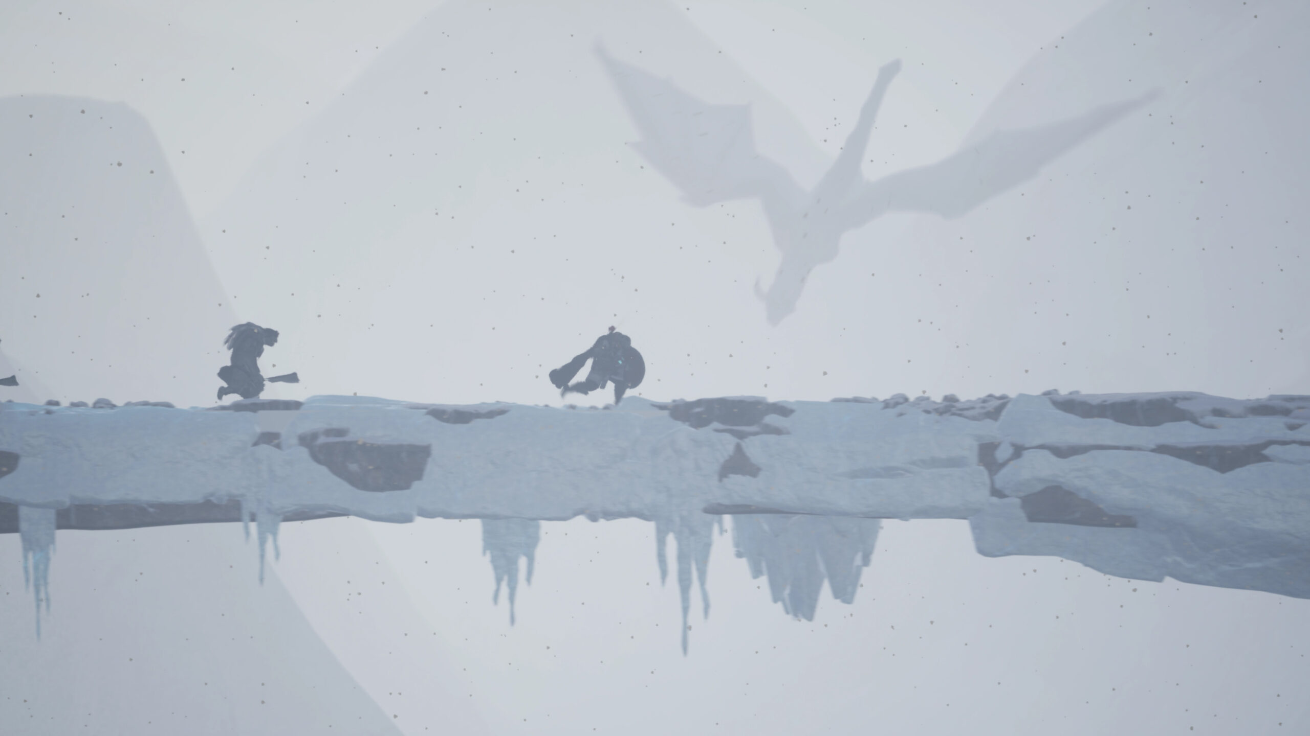 A Viking warrior trudges across a wintery landscape beset by enemies and there is a dragon.