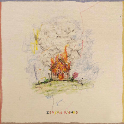 A drawing of a house on fire for the cover art to Isaiah Rashad's The House is Burning.