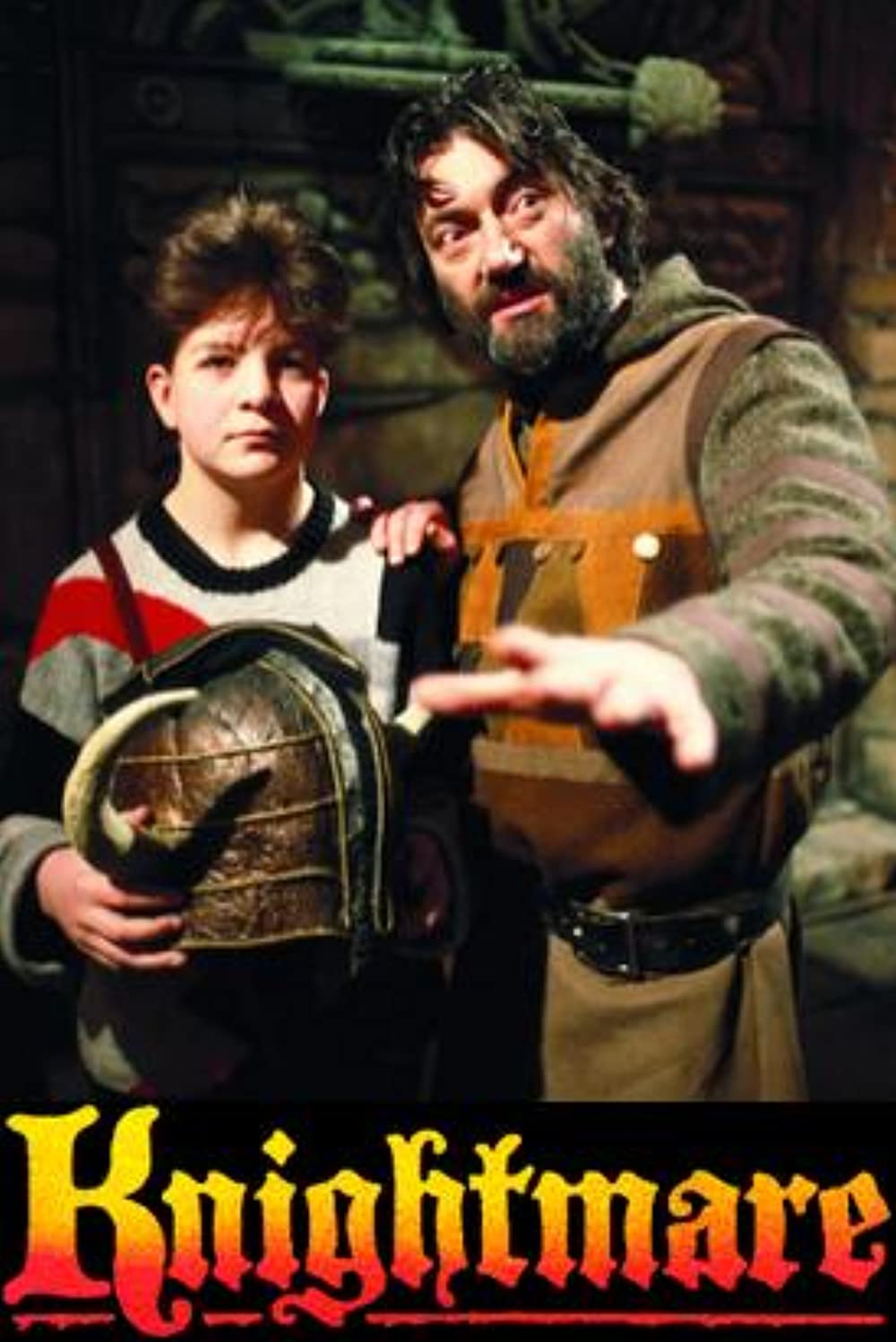 A poster for Knightmare, with a boy and his guide looking off in the distance.