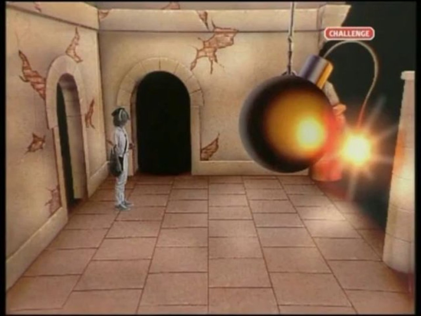 A helmeted child navigates the dungeon with a large bomb acting as a timer.