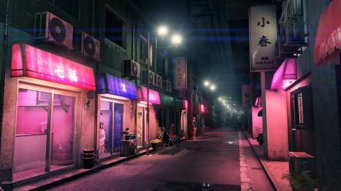 A back path in Kamurocho illuminated in pink and purple.